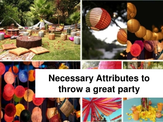 Necessary Attributes to throw a great party