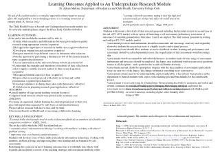 Learning Outcomes Applied to An Undergraduate Research Module Dr ...