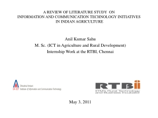 Anil Kumar Sahu M. Sc. (ICT in Agriculture and Rural Development)