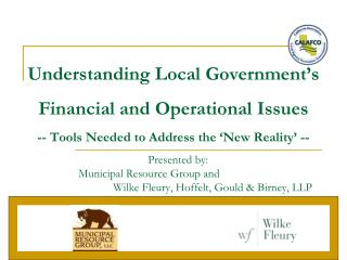 Understanding Local Government's Financial and Operational Issues -- Tools Needed to Address the 'New Reality' --