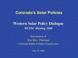 Colorado's Solar Policies
