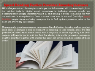 Speed Reading Tactics Provides Amazing features