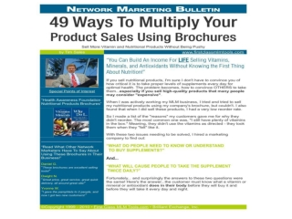 49 Ways To Multiply Your Product Sales Using Brochures