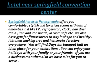 hotel near springfield convention center
