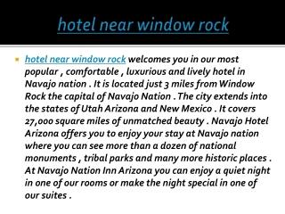 hotel near window rock