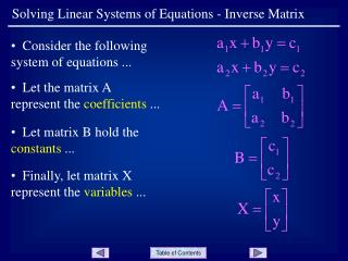 Solving Linear Systems of Equations - Inverse Matrix