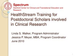 HealthStream Training for Postdoctoral Scholars involved in ...