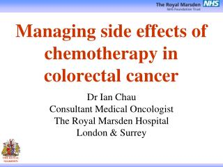 Managing side effects of chemotherapy in  colorectal cancer