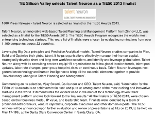TiE Silicon Valley selects Talent Neuron as a TiE50 2013 fin