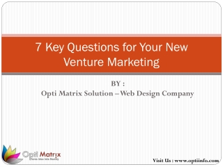 7 Key Questions for Your New Venture Marketing