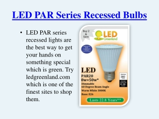 LED PAR Series Recessed Lights