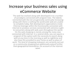 Increase your business sales using eCommerce Website