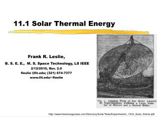 11.1 Solar Thermal Energy