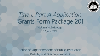 Title I, Part A Application iGrants Form Package 201