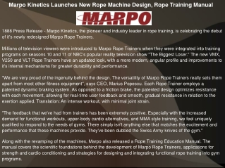Marpo Kinetics Launches New Rope Machine Design, Rope Traini