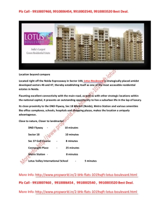Lotus Boulevard 9910006454 3c Lotus Boulevard Noida Lotus Bo