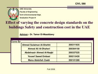 Effect of varying the concrete design standards on the buildings Safety and construction cost in the UAE