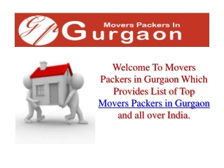 Movers Packers In Gurgaon