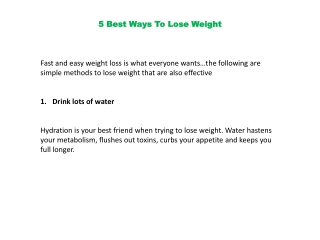 5 Simple Ways to Loose Weight Naturally with out Much Effort