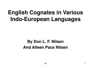 English Cognates in Various Indo-European Languages