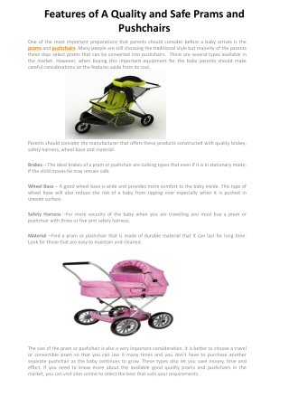 Features of A Quality and Safe Prams and Pushchairs