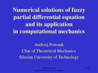 Numerical solutions of fuzzy partial differential equation  and its application  in computational mechanics