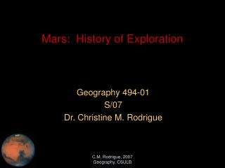 Mars:  History of Exploration