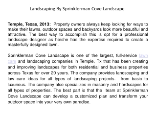 Landscaping By Sprinklerman Cove Landscape