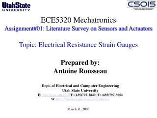 ECE5320 Mechatronics Assignment#01: Literature Survey on Sensors and Actuators  Topic: Electrical Resistance Strain Gaug