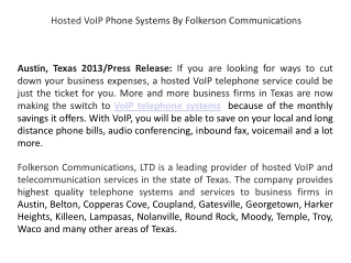 Hosted VoIP Phone Systems By Folkerson Communications