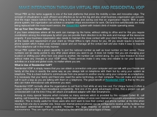 Make Interaction Through Virtual PBX and Residential VoIP