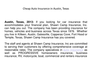 Cheap Auto Insurance in Austin, Texas