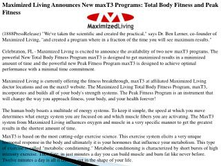 maximized living announces new maxt3 programs: total body fi