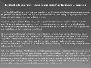 elephant auto insurance - cheapest and fastest car insurance