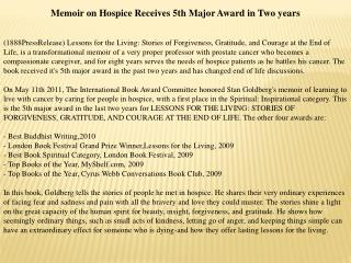 memoir on hospice receives 5th major award in two years