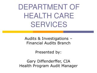 DEPARTMENT OF HEALTH CARE SERVICES