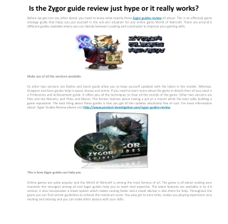 Is the Zygor guide review just hype or it really works?