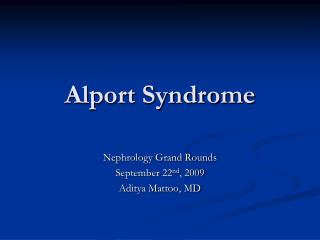 Alport Syndrome