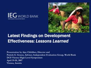 Latest Findings on Development Effectiveness:  Lessons Learned