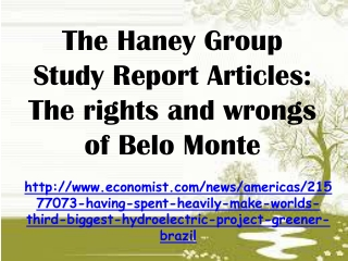 The Haney Group Study Report Articles: The rights and wrongs