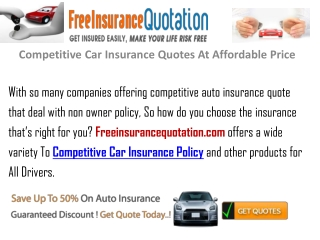 Competitive Auto Insurance Quotes