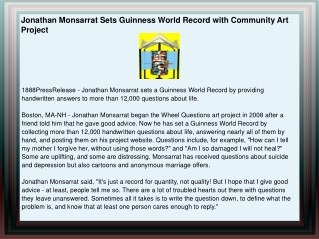 Jonathan Monsarrat Sets Guinness World Record with Community