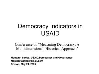 Democracy Indicators in USAID