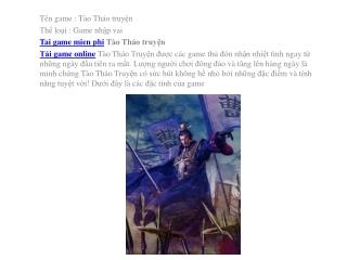 Tải game Tào Tháo truyện miễn phí cho điện thoại, phiên bản
