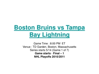 nhl boston bruins vs tampa bay lightning live