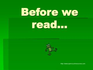 Before we read…