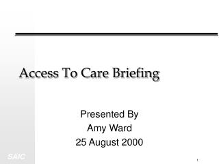 Access To Care Briefing
