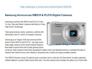 samsung announces wb210 & pl210 digital cameras