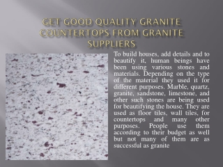 Get Good Quality Granite Countertops From Granite Suppliers