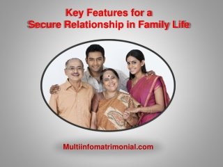 Key features for a secure relationship in family life